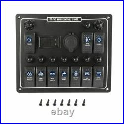 10 Gang Waterproof Car Auto Boat Marine Led Ac Dc Rocker Switch Panel Dual Power
