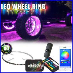 Bluetooth 4x15in Wheel Ring Accent Light LED RGB Multi Color Kit Red Brake Mode