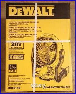 New DEWALT 20V MAX Cordless or Corded Jobsite Fan DCE511B power tools camping