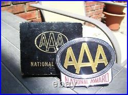 Vintage 60s nos AAA promo License plate topper badge gm Hot rat rod jalopy trog